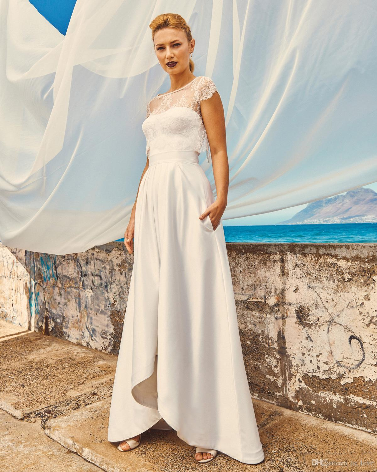Discount High Low Wedding Dress With Pockets Lace Jacket Bolero Cap Sleeve Boat Neck Short Front Long Back Bridal Gowns 2020 Beach Wedding Online Dresses Vintage Lace Wedding Dresses From In Love 77 68,Stores To Buy Dresses For A Wedding