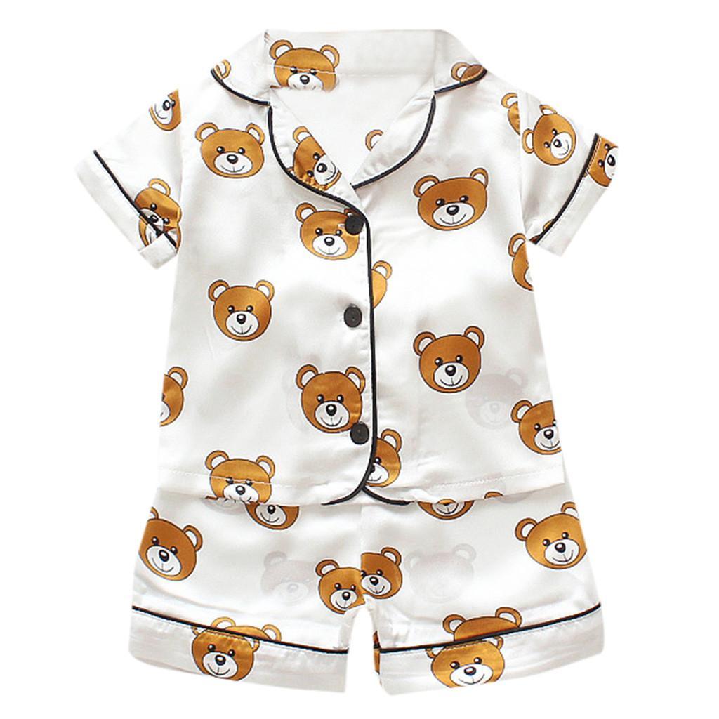 Pijamas set para as crianças presentes Dia de verão 2019 casa Rapazes Meninas Miúdos roupa curta dos desenhos animados manga bebê Pijamas Suit de Crianças