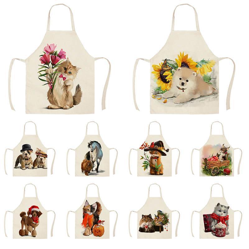1 Adet Mutfak Önlüğü Hayvanlar Sevimli Karikatür Kedi At Köpek Baskılı Kolsuz Pamuk Keten Kadınlar Ev Temizlik Tools55 önlükları * 68c
