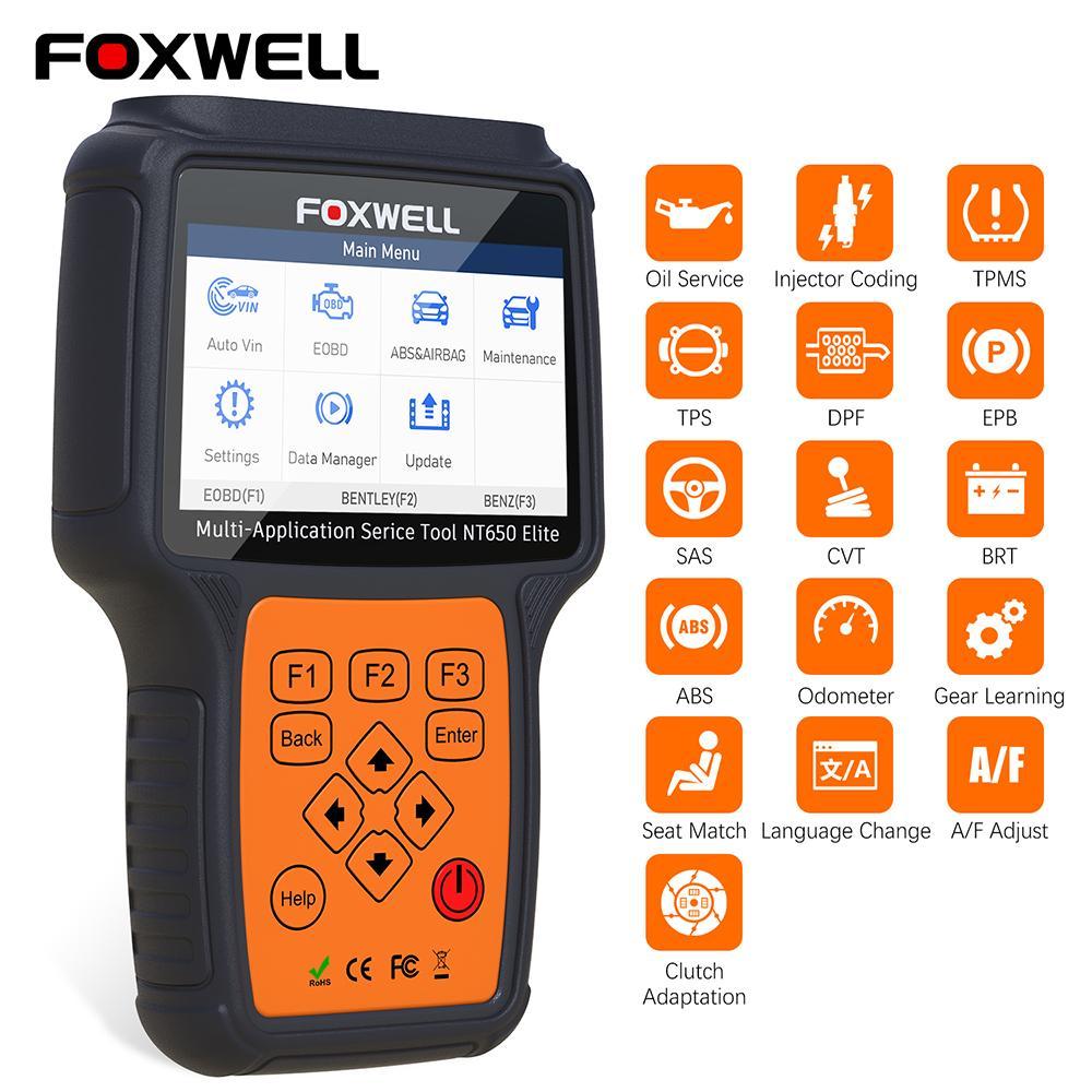 Herramienta de diagnóstico de Foxwell NT650 Elite OBD2 EOBD aplicación multi funciones de restauración de servicios Código del lector del coche OBD2 el explorador automotor