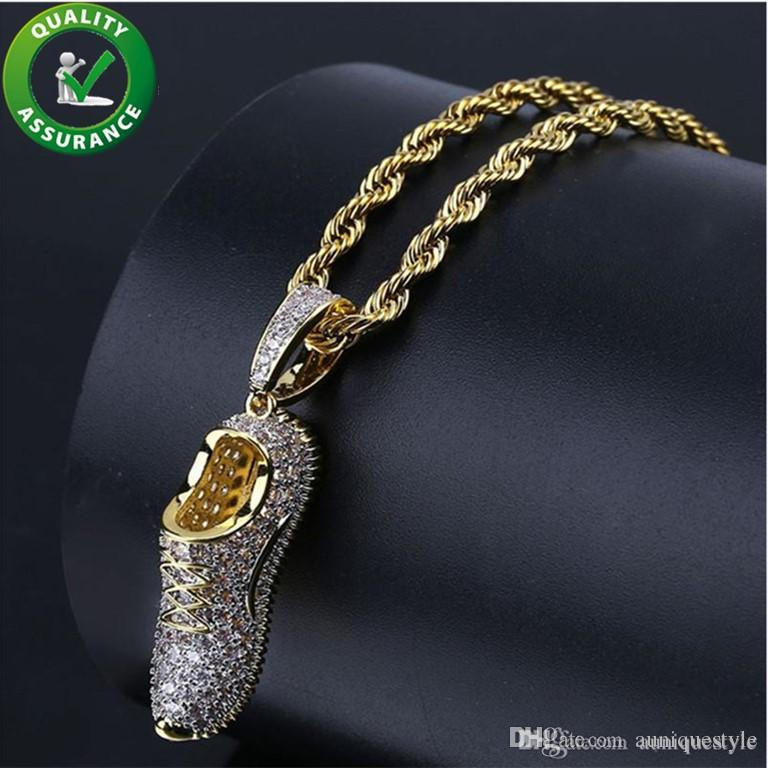 Hip Hop Bling Chains Jewelry Men Luxury Designer Necklace Mens Gold Chain Pendants Iced Out Diamond CZ Shoes Rapper Fashion Accessories