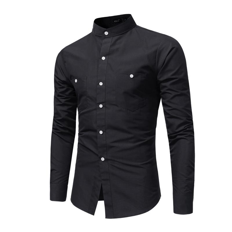 Marque 2020 Mode Homme T-shirt manches longues Hauts pied de col Jeune Chemise Couleur unie Robe Hommes Chemises Slim hommes XXXL