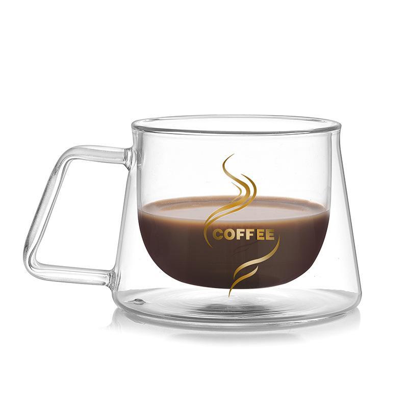Caneca Caneca parede dupla 2pcs Escritório Canecas isolamento térmico Double Coffee Coffee Vidro Cup Copos Leite Cup2019