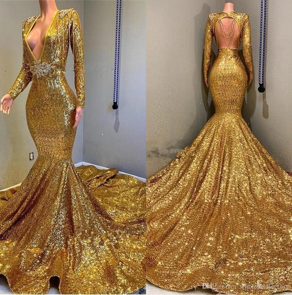 2020 Gold Sparkling Long Sleeves Sequins Mermaid Prom Dresses Deep V Neck Beaded Stones Backless Sweep Train Party Evening Gowns BC0577