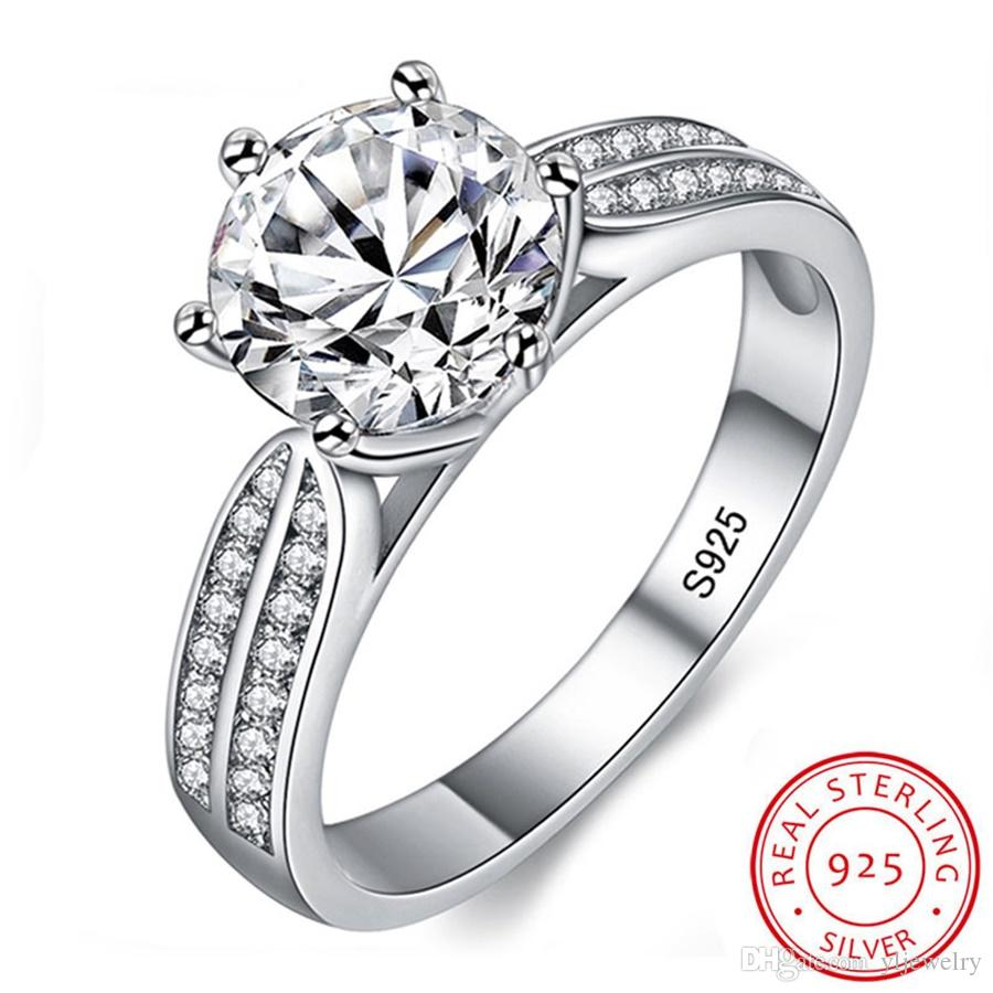 100% Real Natural 925 Sterling Silver Rings for Women Luxury 8mm Sona Cubic Zirconia Wedding Rings Fashion Jewelry Gift R006