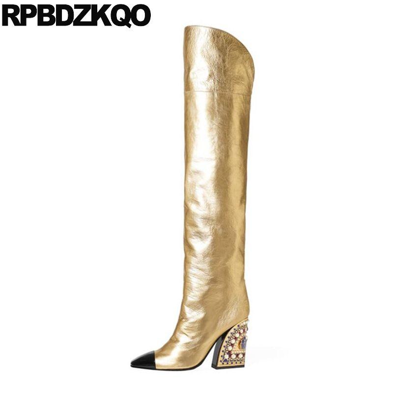 toe praça ampla bezerro de ouro tamanho grande robusto ao longo dos sapatos 13 45 pérola de salto alto crossdresser coxa botas para mulheres plus joelho