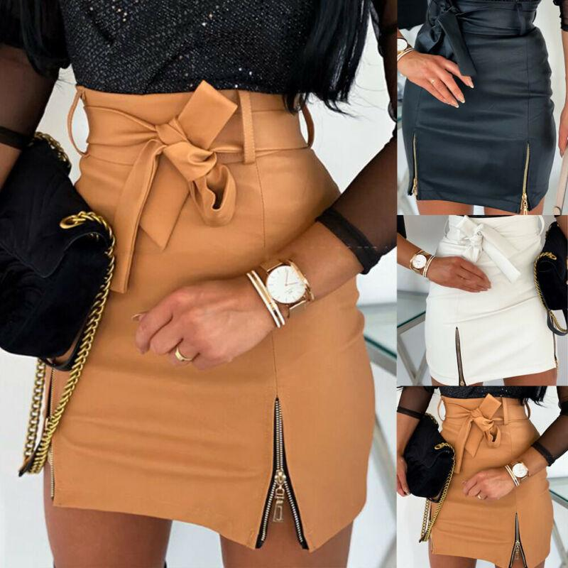 2020 neue Damenmode-Verband-PU-Leder-Rock-Reißverschluss-Dame-Taillen-Bleistift Bodycon Short Mini-Rock-beiläufige Verein-Kleidung