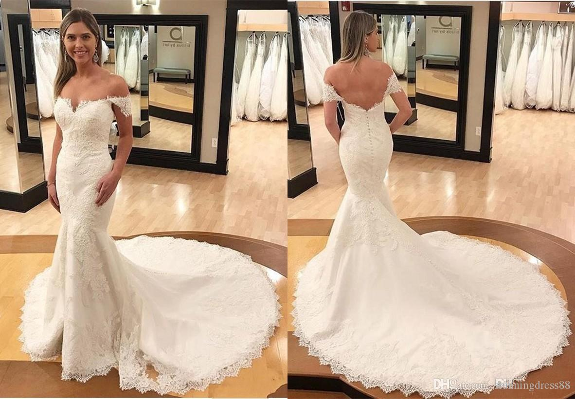 Magic 2021 Mermaid Off shoulder Wedding Dresses with Long Train Applique Backless Lace Sequins Short SLeeves Wedding Bridal Gowns Plus size