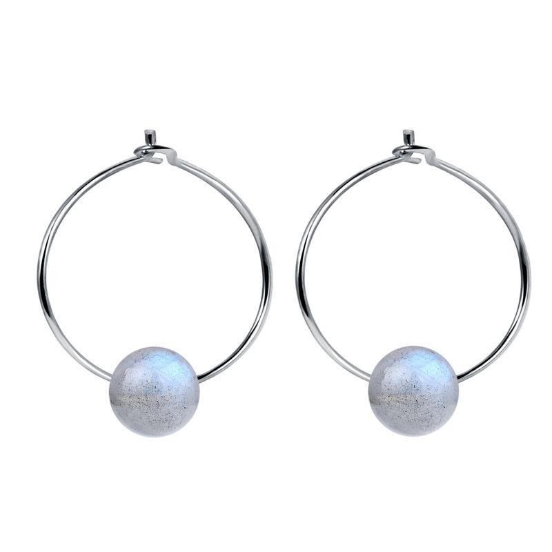 S925 Sterling Silber Mondstein Ohrringe japanische und koreanische Damen künstlerisches Temperament BlueRay Labradorit Ohrschmuck-Ohr-Ring-Ohrringe