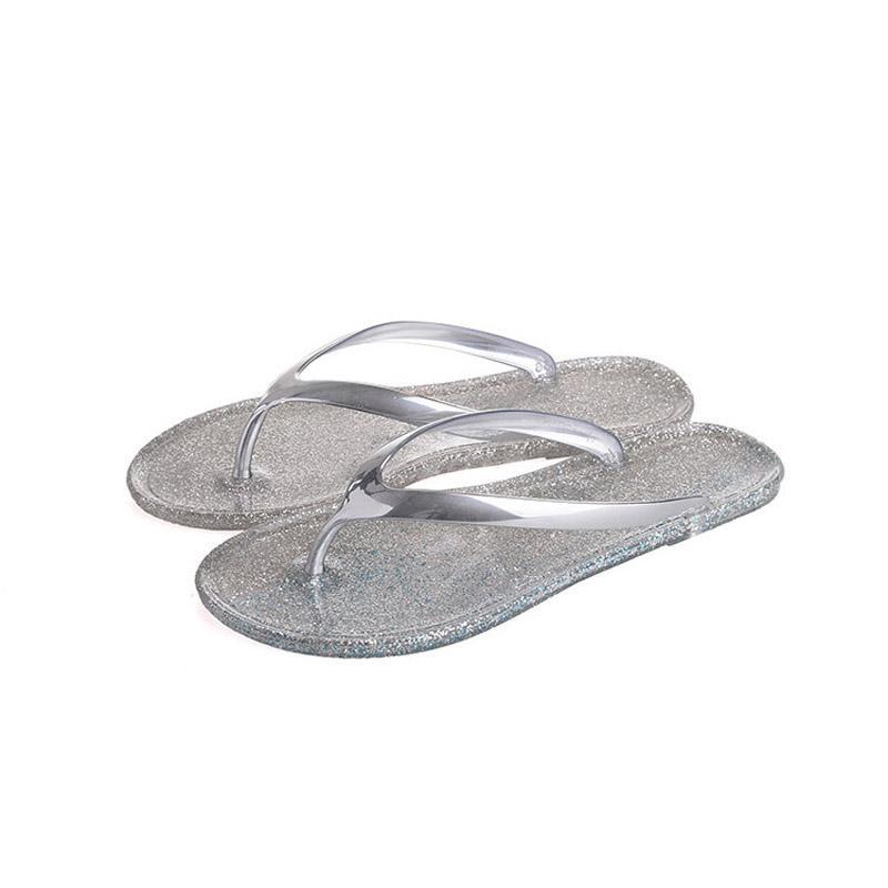 2019 Mulheres praia dos chinelos Flippers Moda Bling Chinelos Verão Mulheres Flats Sapatos Mulher Plano Flippers Chinelo Pantufa