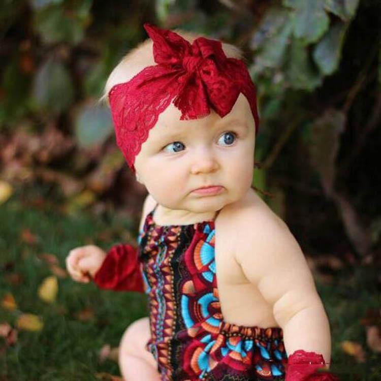 pour enfants en gros dentelle Bow cheveux bande noire Blanc bébé Bandeaux Bow dentelle Bandeau bébé Accessoires cheveux 8colors