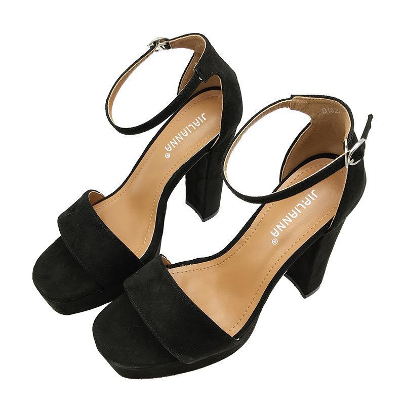 Hot Sale-2019 talon femmes talon haut Sandale boucle enveloppées cheville coréenne sandales trapu design tout simplement des chaussures de confort pour femme zy503
