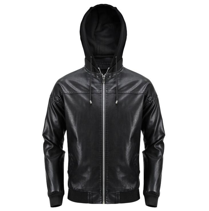 남성 새로운 브랜드 캐주얼 오토바이 가죽 자켓 후드 지퍼 남성 기관차 재킷 폭격기 가죽 자켓 코트