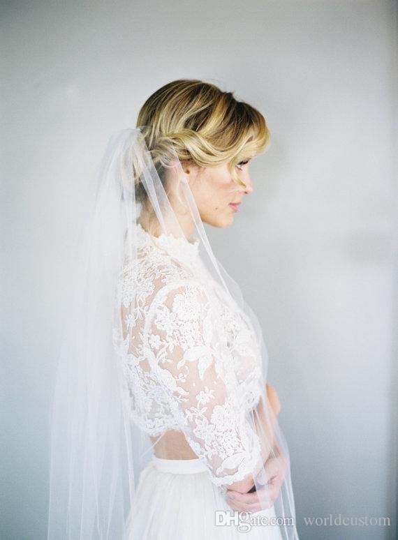 Moda elegante quente Uma Camada Capela Comprimento de Corte Borda Personalizado Branco Marfim Alloy Comb Véu De Noiva Meidingqianna Marca
