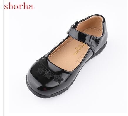 أسود أنيق الاطفال الطفل طفل زهرة الأطفال حفل زفاف فستان الأميرة أحذية جلدية للبنات مدرسة الرقص أحذية 6-16y