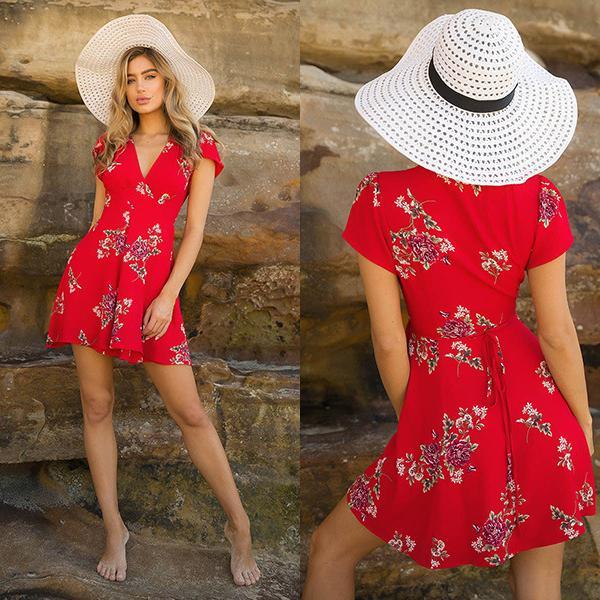 FashionStylistWomens Floral Printed Loose Mini Dress New Ladies V-Neck Summer Dresses Stylish Short Sleeve Evening Party Dress Vestidos