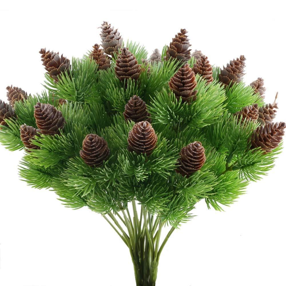 4шт поддельные кедровые ветки сосны с искусственными сосновыми шишками пластиковые кустарники искусственной зелени кустов пучки стол центральные Arrang