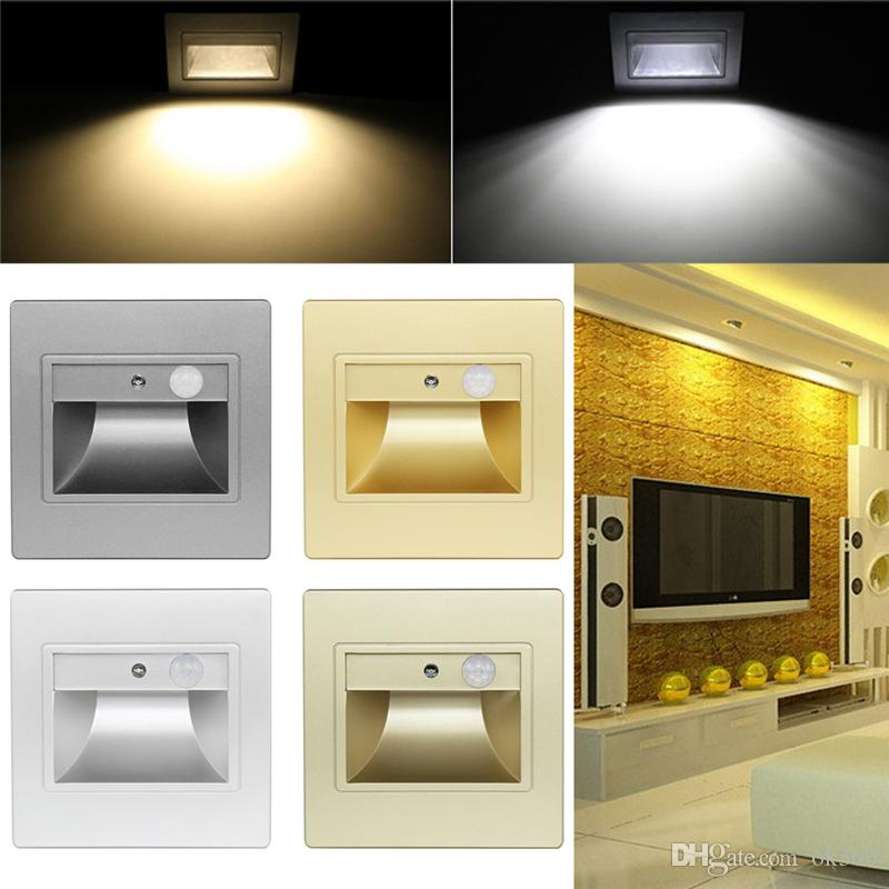 2 Pcs Battery Operated Night Lamps LED Indoor Induction Light Motion Sensor Footlight for Stairs Step Staircase Square Light