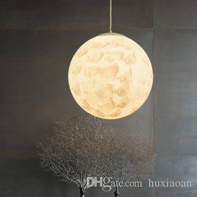 Nórdico 3D Impressão Lua Lua Pingente Lâmpada De Lâmpada Bola Moderna Sala de estar simples Dropight Quarto Dining Hall Início Iluminação