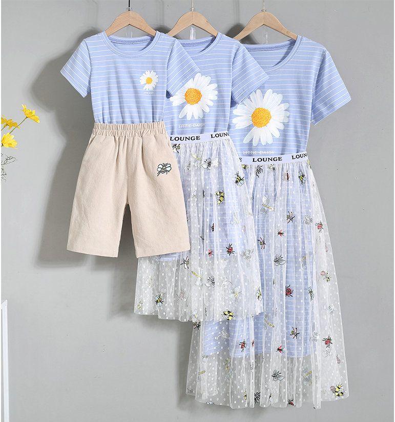 Estate madre figlia figlio abiti vestito casual famiglia abbinata vestiti