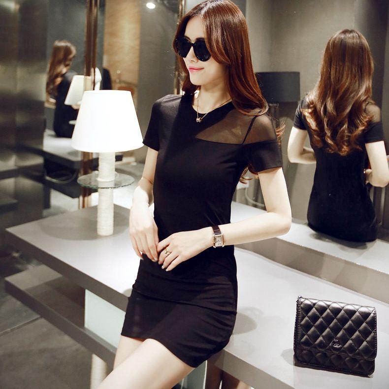 2020 summer dress new Korean version sexy net yarn stitching body thin step bag hip dress 2429