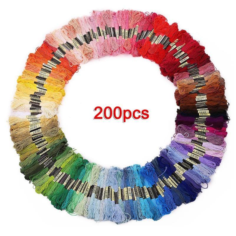 200 écheveaux de fil multicolore pour tissage de broderie transversale d'une aiguille
