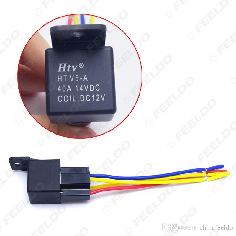 Оптовая торговля Автомобильные противоугонные устройства Автомобильные 4-контактный 12VDC 40 / 30A Контроллер реле с замкнутым контактом с адаптером жгута проводов # 3883