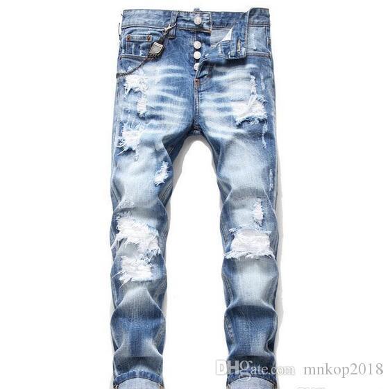 Nuovo Mens afflitto Ripped Jeans skinny blu Stilista di moda slim fit lavato Hip Moto pantaloni del denim a pannelli Hop Biker Pantaloni