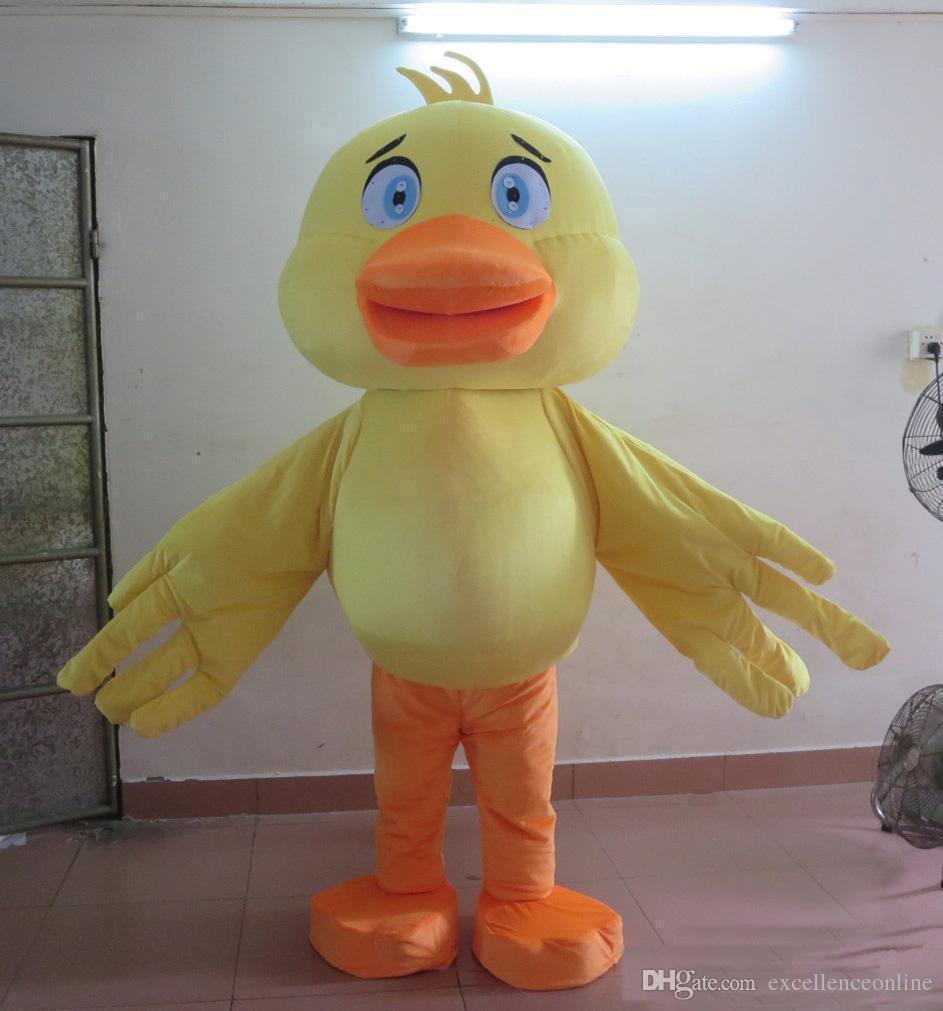 Vente d'usine 2018 chaude le costume de mascotte de tête de canard jaune pour adulte à porter