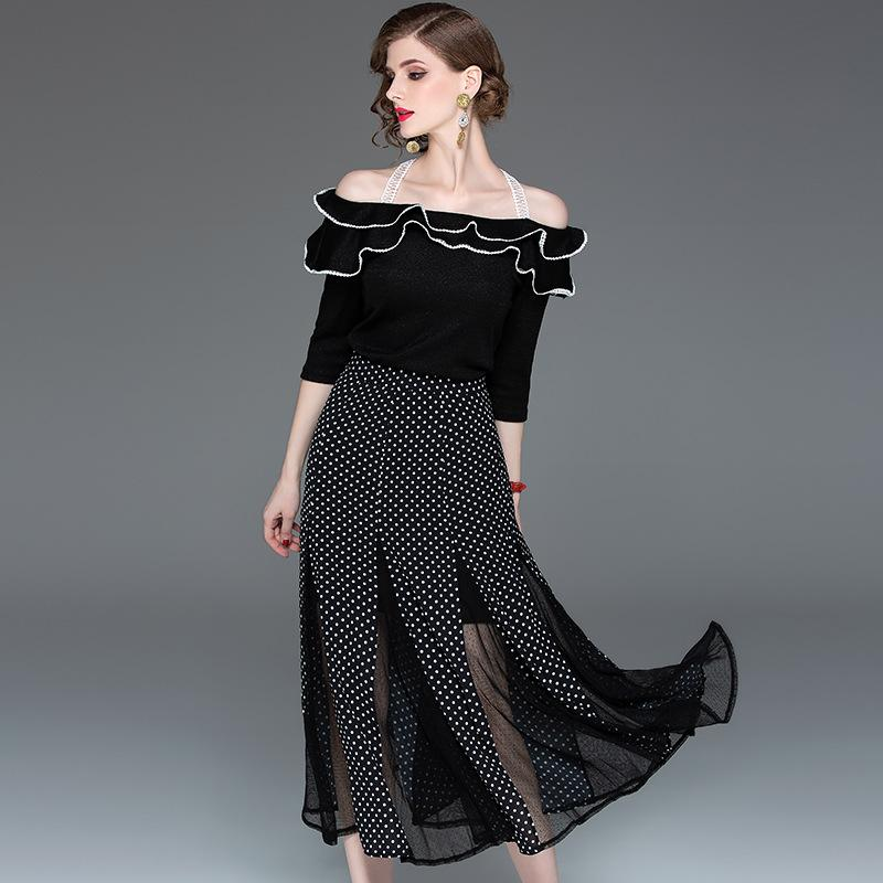 Brand New Designer Donna due pezzi Abiti 2019 Primavera Estate Fashion Lady Slash Neck Ruffles Top + Midi Gonna a pois Set di vestiti