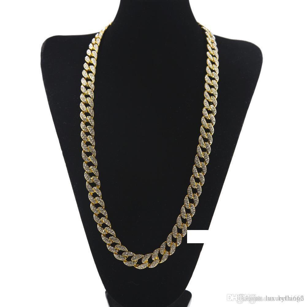 Chain di alta qualità Miami cubana link oro della lega placcata Completamente fuori ghiacciato Rhinestons cristallo Hip Hop Jewelry BlingBling collana