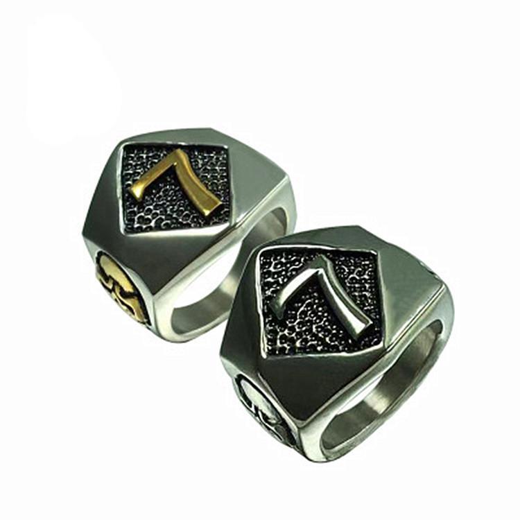 316L Stainless Steel Punk Gothic Gold Silver Retro Men's Biker Skeleton Number 7 Skull Ring Jewelry