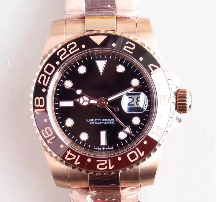 Outdoor Sapphire Mens Relógios Todos Case Gold Rose e aço inoxidável Man Bracklet Assista Índice Black Dial 40 MM Movimento mecânico automático