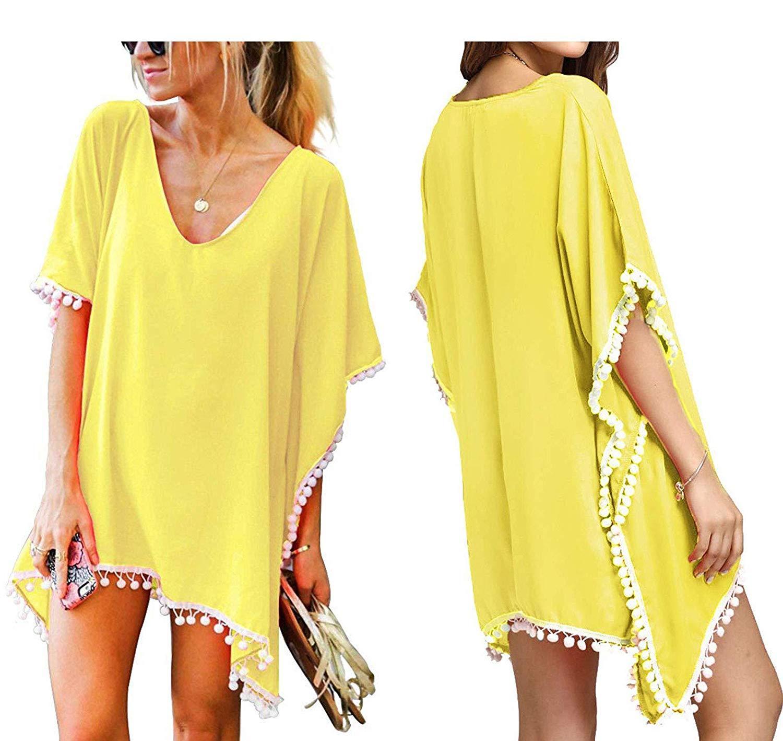 Mulheres Chiffon Pom Pom Kaftan Swimsuit Sexy Beach Bikini Cover Ups Plus Size Swimwear Vestido Amarelo