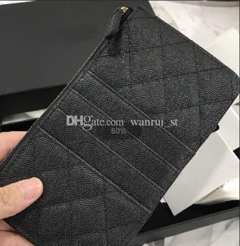 Großhandel - Echtes Leder Handytasche Kartenhalter Zipper Poucht Coin Pocket Caviar lange Brieftasche heißer Verkauf Leder Geldbörsen