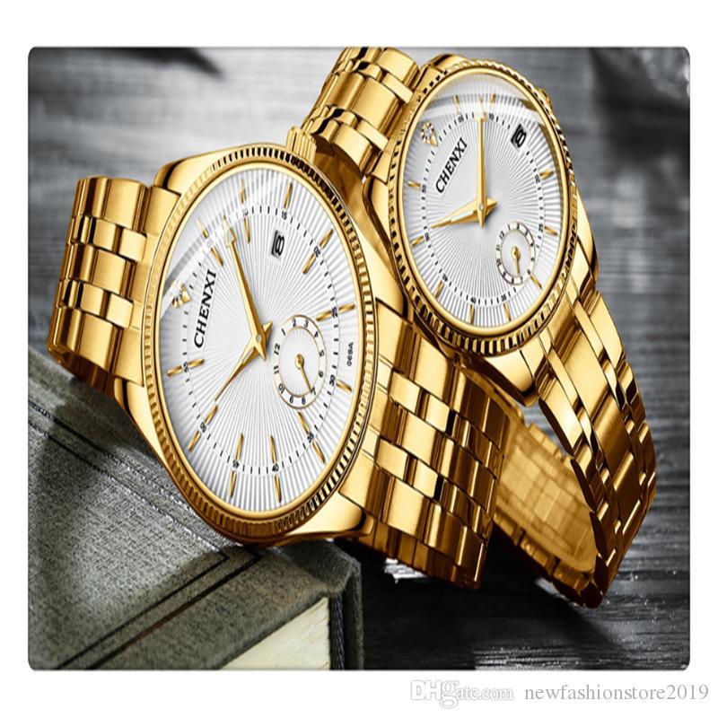 De alta qualidade classifica mens banda de aço de quartzo à prova d 'água calendário relógio cx-069 ouro ipg face branca um presente para o namorado