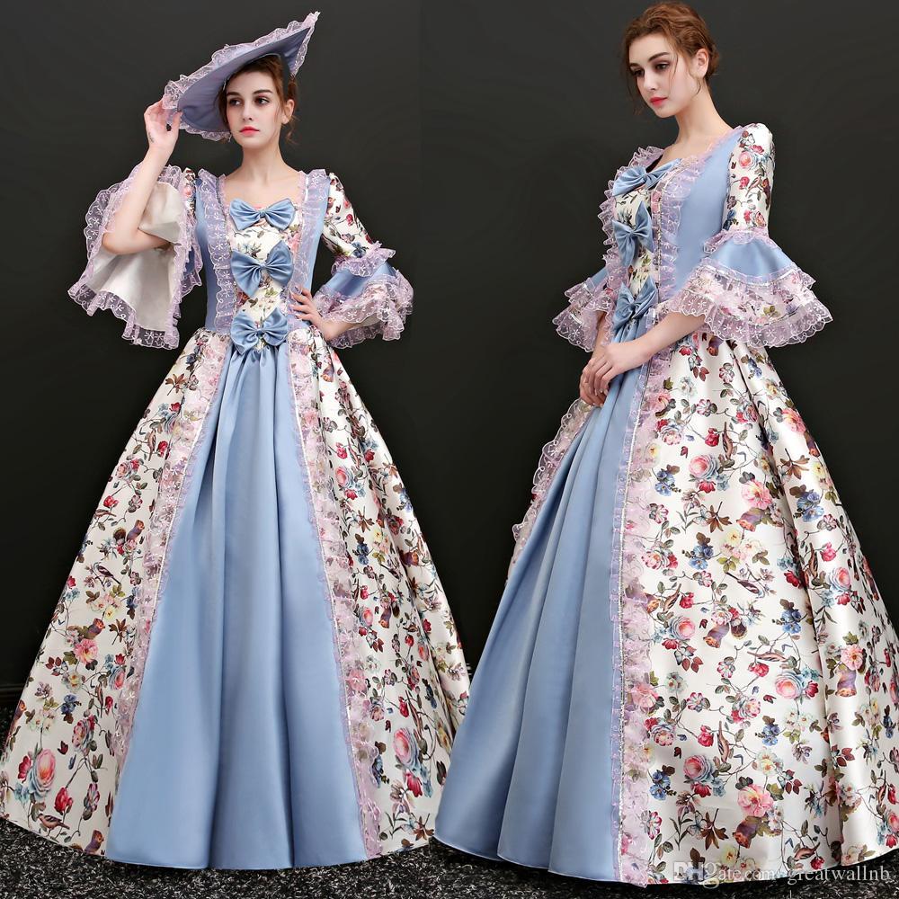 100% echte Gartenblumen Vintage Karneval Ballkleid mit Hut Medieval Renaissance Gown Queen Kostüm viktorianischen Kleid / Marie Antoinette / Studio
