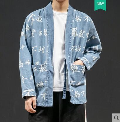 2019 primavera nova jaqueta jeans masculina solta maré jaqueta marca selvagem estilo chinês Hanfu jovens estudantes traje preto M-3XL