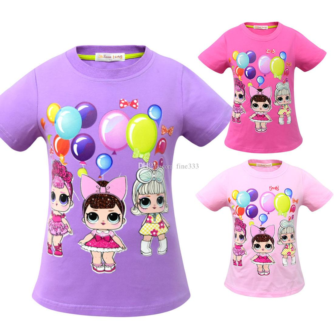 T shirt 3D color Printing New Cartoon Girls Short sleeve T-shirt Summer Breathable children's wear Kids Children Outwear Top Clothing 2241