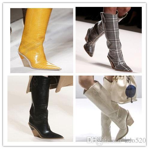 2020Toe desenhador de moda estranho saltos altos de couro reais Calçados Femininos New Outono Inverno Botas Passarela Longo Mulher Botas