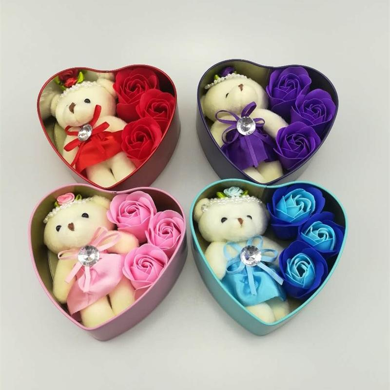 Heart-Shaped Rose Soap Flower with Plush Animal toys Teddy Bear Doll Romantic Wedding Party Flower Petals Decor Valentine gift