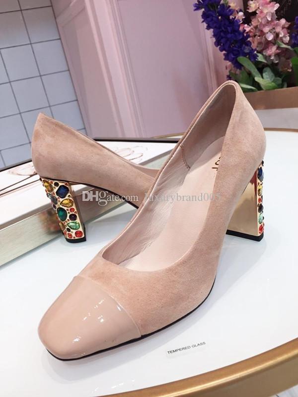 2019 дизайнер высоких каблуках весной и осенью Sexy Bar Banquet Свадебная обувь7.5CM Толстый каблук Корабельная обувь с бриллиантовыми каблуками 35-39