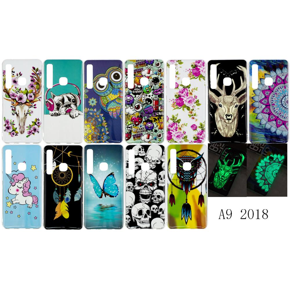 Fluorescence Case For Samsung Galaxy A9 2018 Pug Dog Owl Unicorn Deer Animal Flower Glow in Darkness(A9 2018)