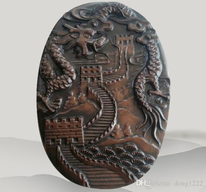 Chinese old wa shi Stone Inkstone with Exquisite carving dragon