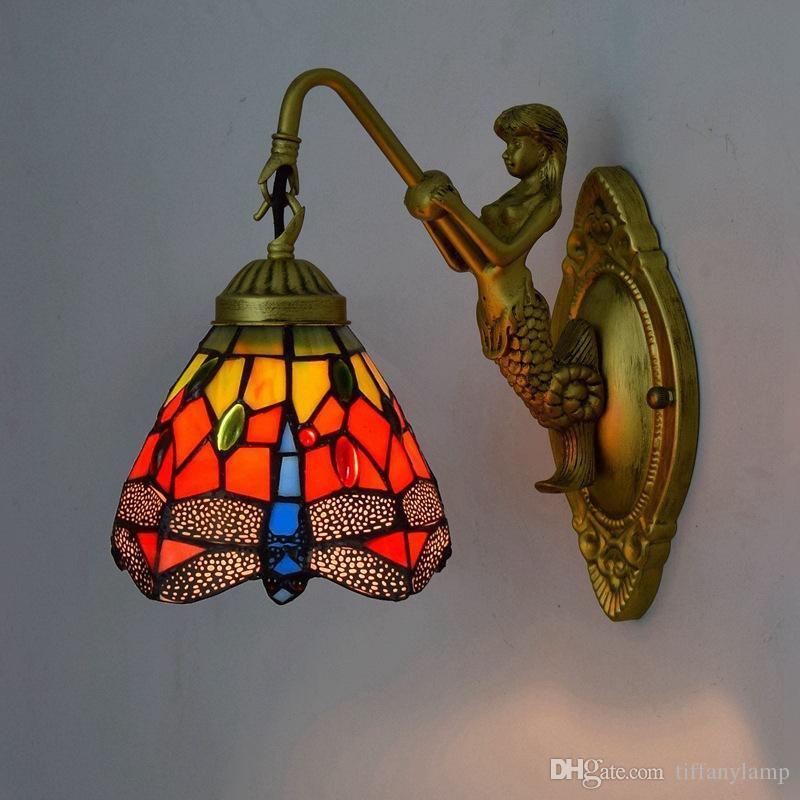 Red Dragonfly Mermaid Wall Lamp vitral abajur arandela de cabeceira quarto Espelho luminárias E27 AC110-240V