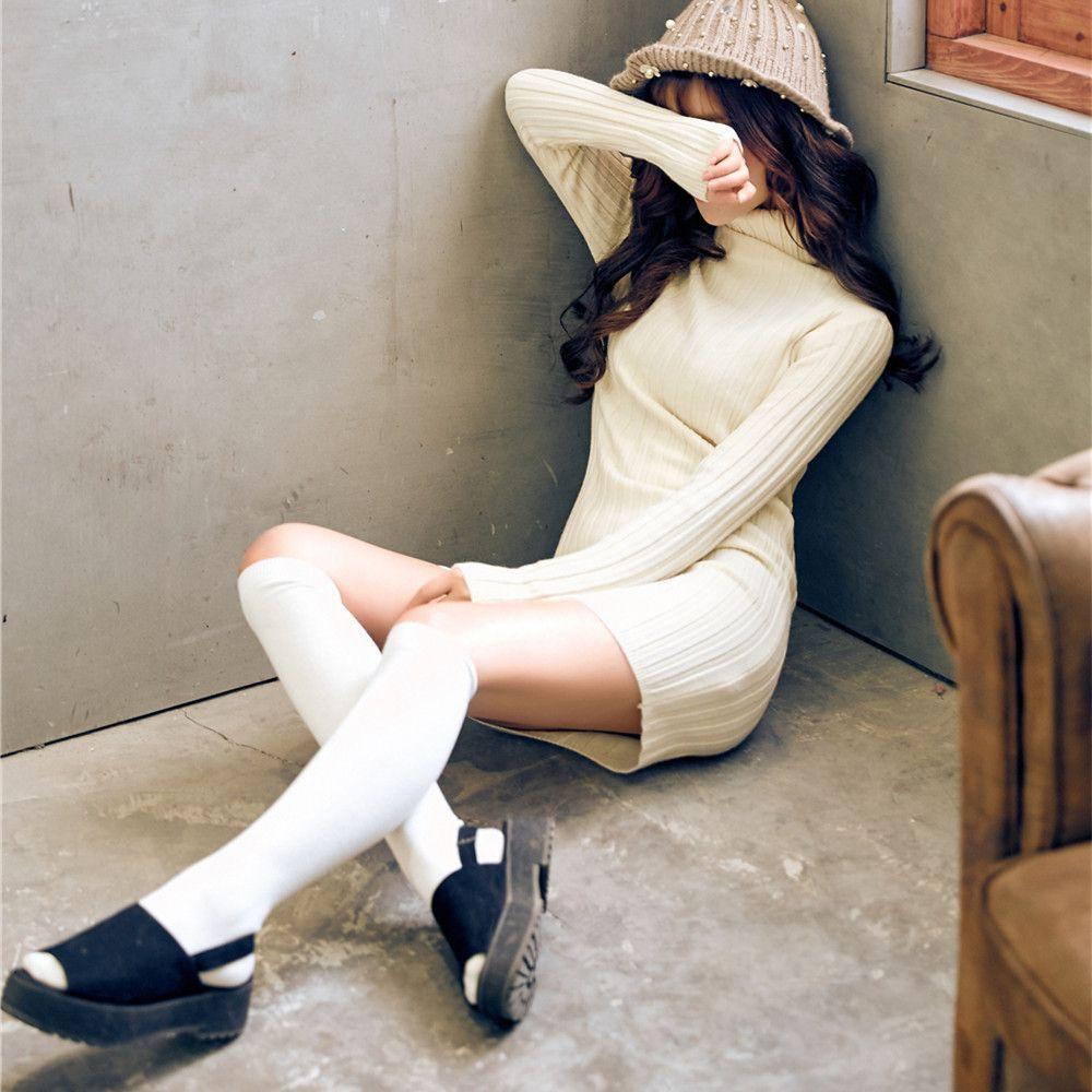 Moda y simple Rodilleras planas Medias japonesas y coreanas calcetines de becerro de algodón tubo medio largo color sólido calcetines de tubo alto