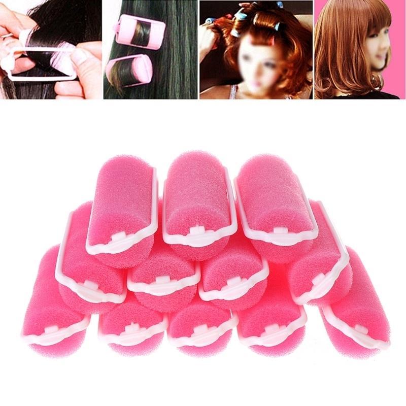 12 pçs / set Macio Magia Esponja Espuma Almofada de Cabelo Rollers Styling Rosa Curlers Penteado Design Salon Ou Uso Doméstico Ferramenta de Cabeleireiro