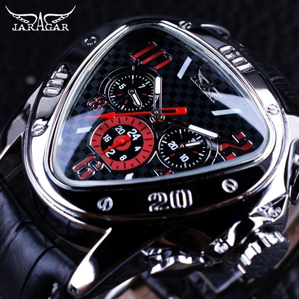 JARAGAR de competición del deporte del diseño geométrico del triángulo Piloto hombres del cuero genuino reloj mecánico superior de la marca de lujo reloj automático CJ191213