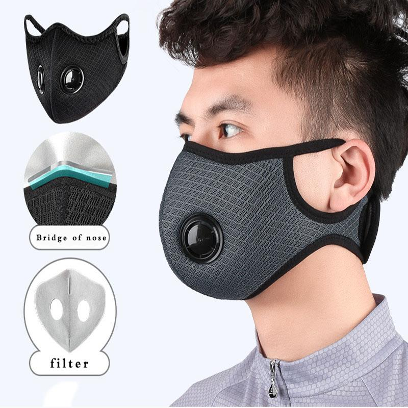 Riding Cycling Face Mask Unisex Activated Carbon Filter Anti Pollution Washable