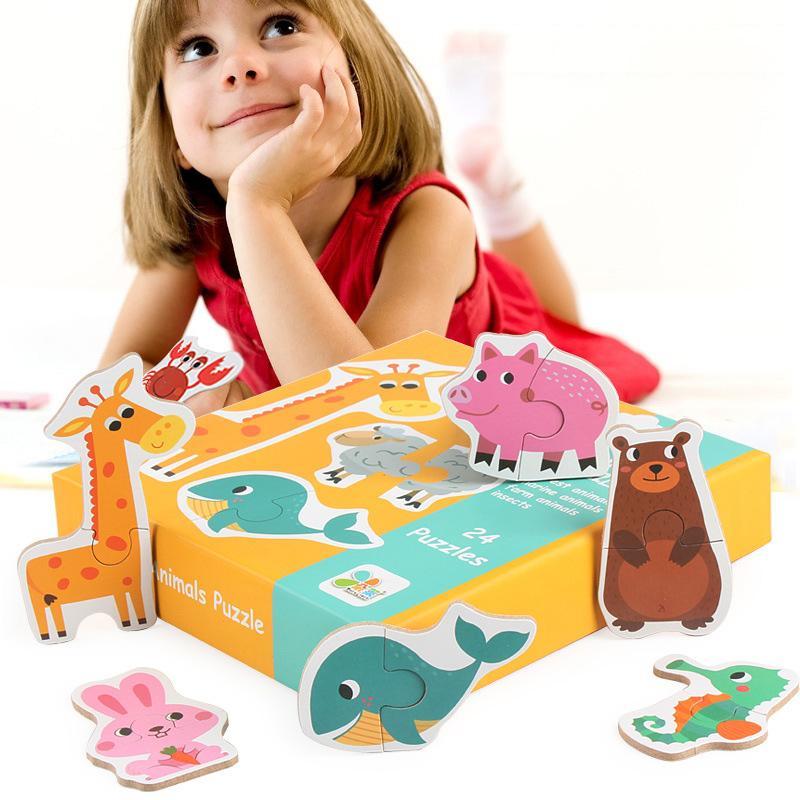 아이들을위한 나무 퍼즐 퍼즐 장난감 만화 동물 과일 나무 퍼즐 지능 아이 유아 초기 교육 완구